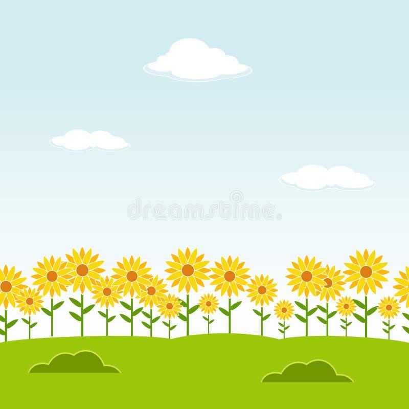 Sömlös bakgrund för landskap Trädgårds- seamless bakgrund Trädgårds- bakgrund för solros Blommalandskapbakgrund LAN för klar dag stock illustrationer