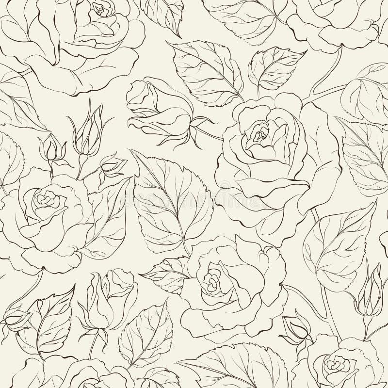 Sömlös bakgrund för liten ros. stock illustrationer