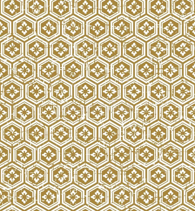 Sömlös bakgrund för modell för blomma för polygon för japansk stil för tappning guld- vektor illustrationer