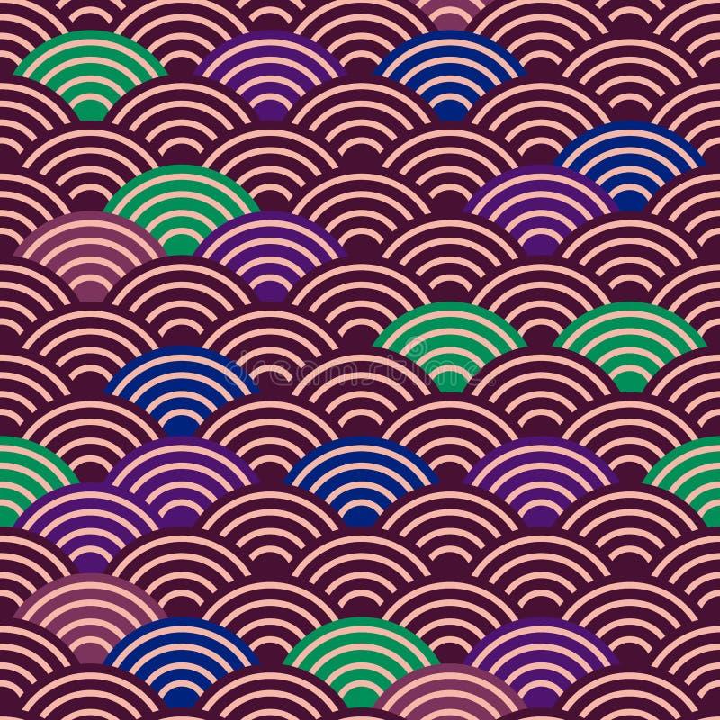 Sömlös bakgrund för natur för modell för våg för modelldrakefisk enkel sömlös med japansk burgund för mörk brunt för vågcirkelmod stock illustrationer