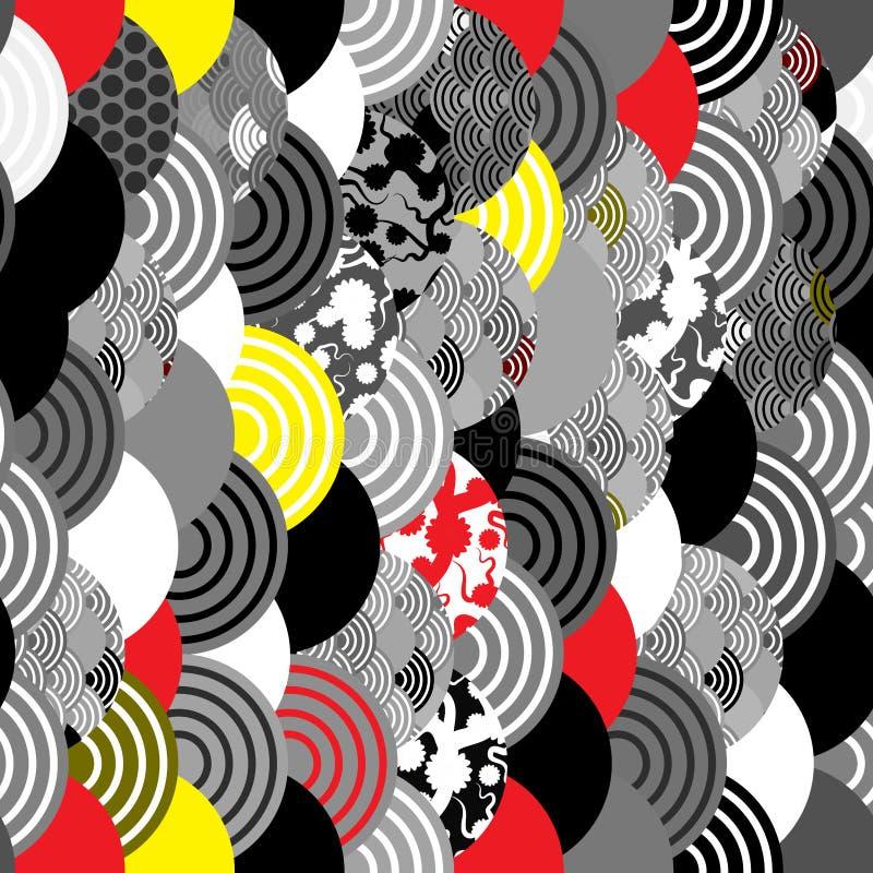 Sömlös bakgrund för natur för modellfiskvåg enkel med den japansakura blomman, körsbär, guling för grå vit för vågcirkelsvart röd stock illustrationer