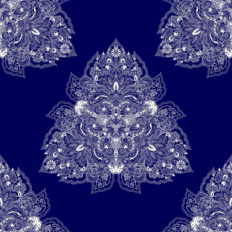 Sömlös bakgrund för Paisley mandala royaltyfri illustrationer