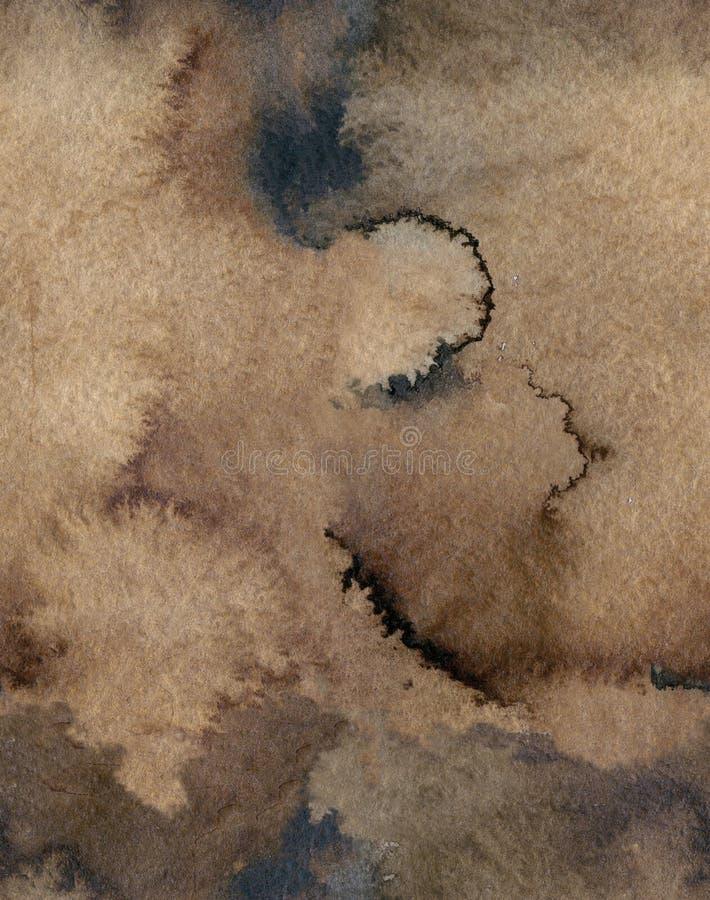 Sömlös bakgrund för papper för vatten för vattenfärgkaffefärg Abstrakt brun rasterillustration vektor illustrationer