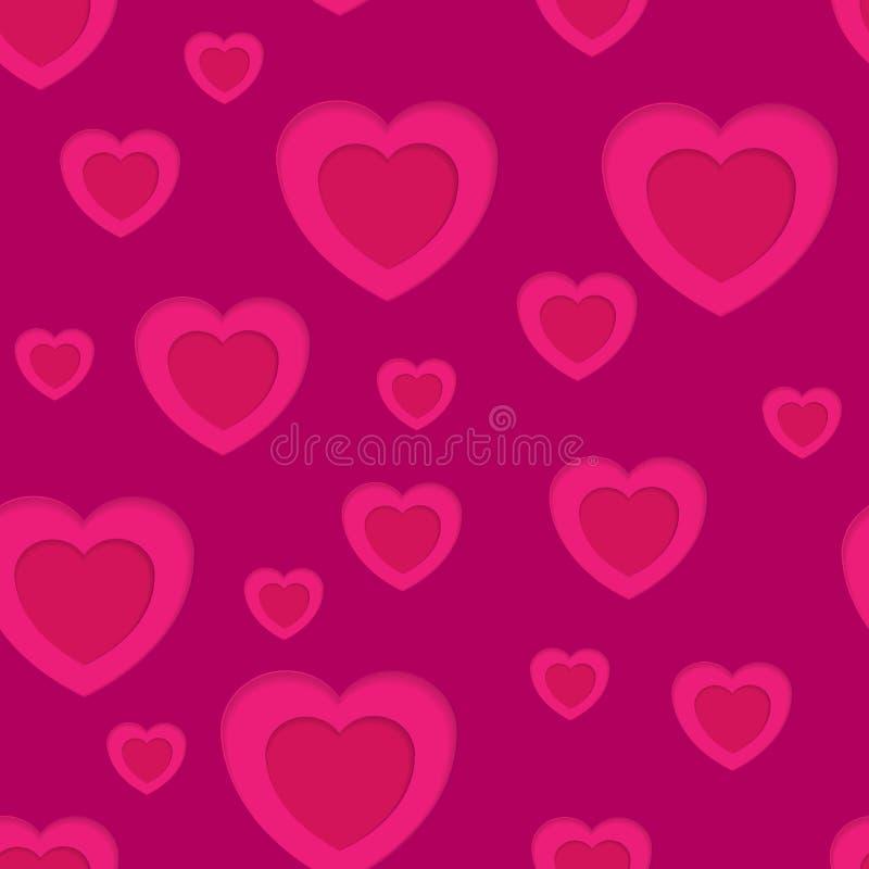 Sömlös bakgrund för rosa hjärtaabstrakt begrepp vektor illustrationer