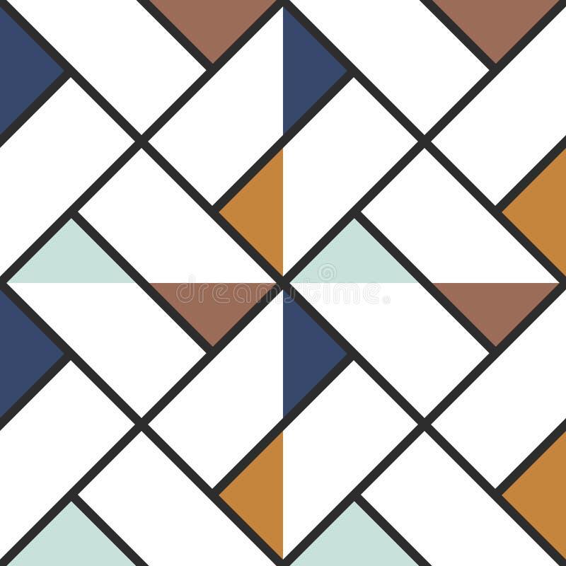 Sömlös bakgrund för rutiga trianglar för golvtegelplatta abstrakta kulöra också vektor för coreldrawillustration royaltyfri illustrationer