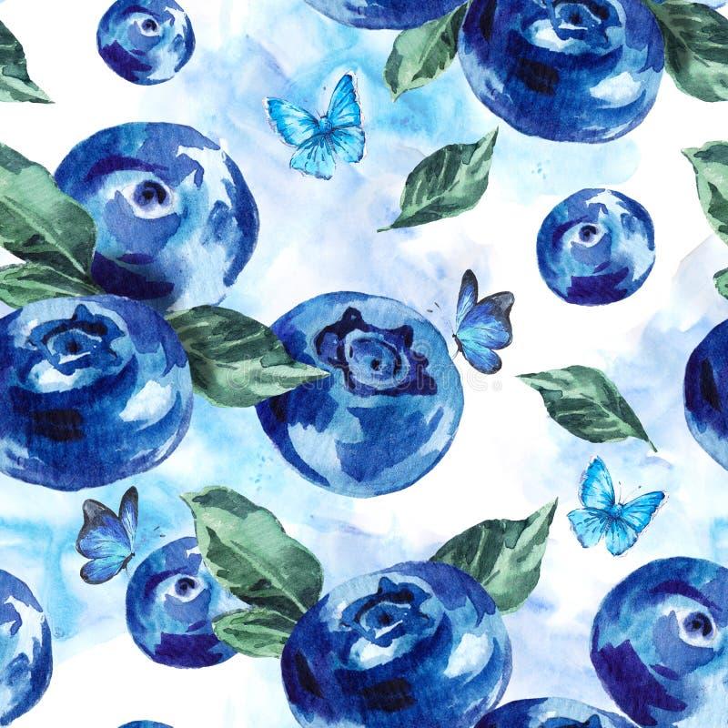 Sömlös bakgrund för sommarvattenfärgblåbär stock illustrationer