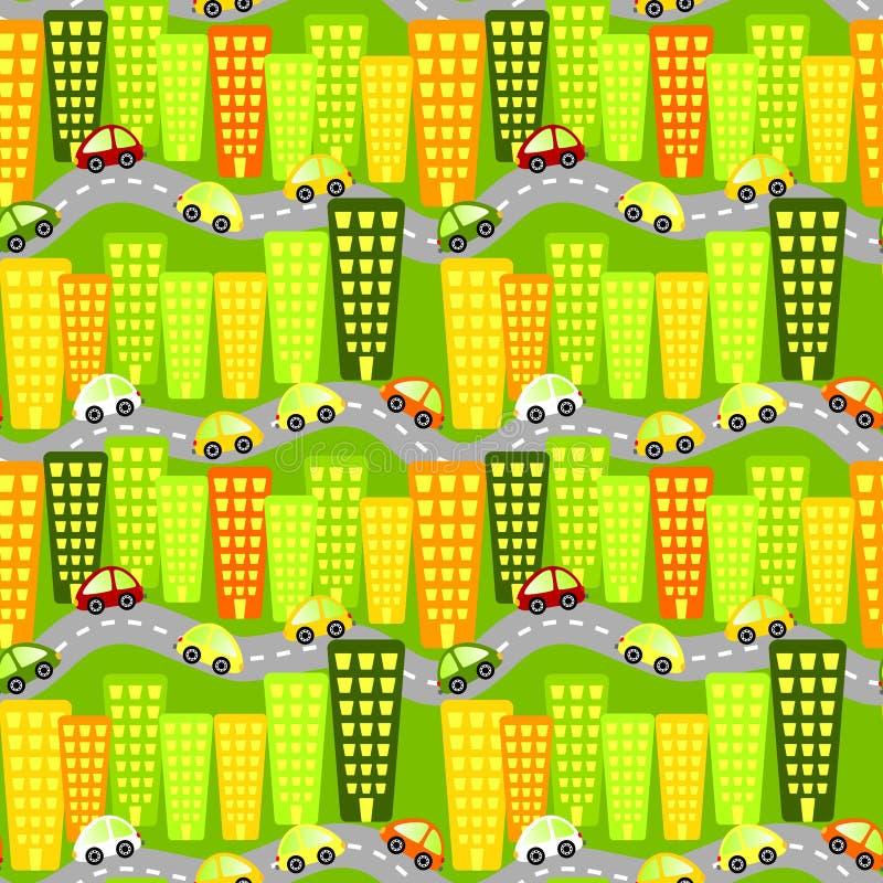 Sömlös bakgrund för stadsskyskrapabilar vektor illustrationer