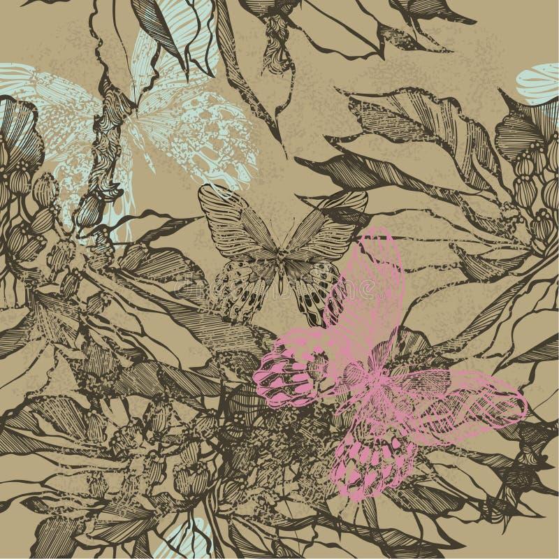 Sömlös bakgrund för tappning med blommor och fjärilar vektor royaltyfri illustrationer