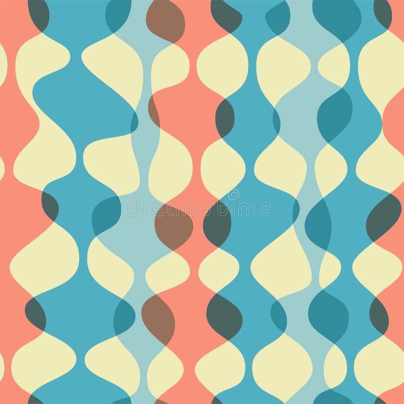 Sömlös bakgrund för tappning, retro modell Kaotiska mångfärgade vågor, girlander modern stil för 50-tal vektor illustrationer