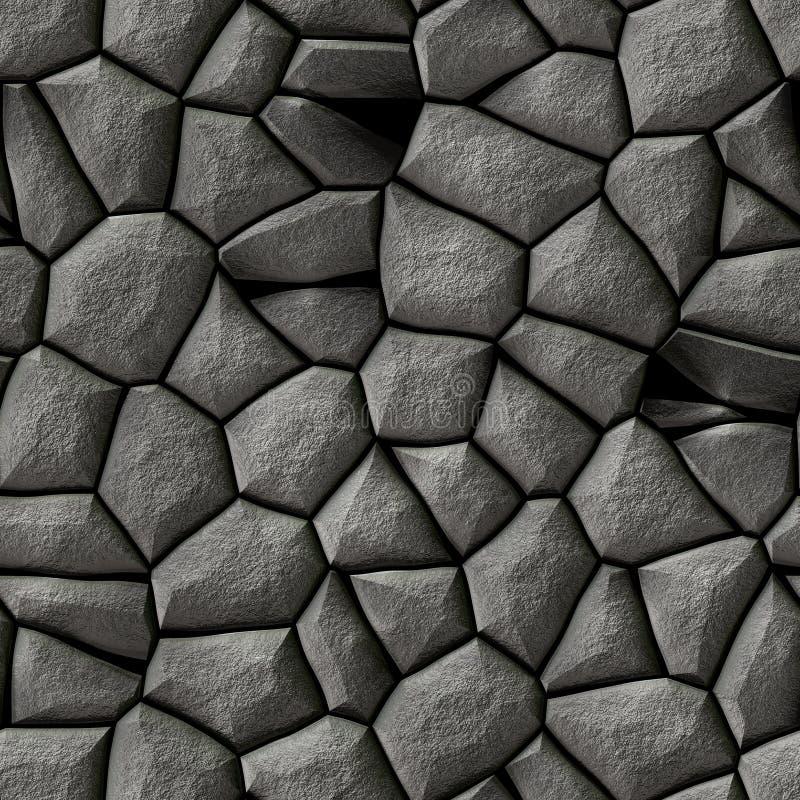 Sömlös bakgrund för textur för mosaikgrå färgstenar med vit grout - kullersten royaltyfri illustrationer