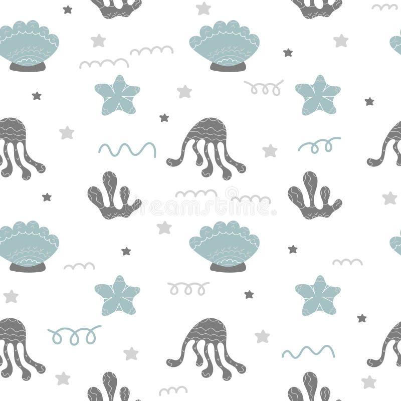 Sömlös bakgrund för undervattens- livvektor Barns textiler, inpackningspapper stock illustrationer