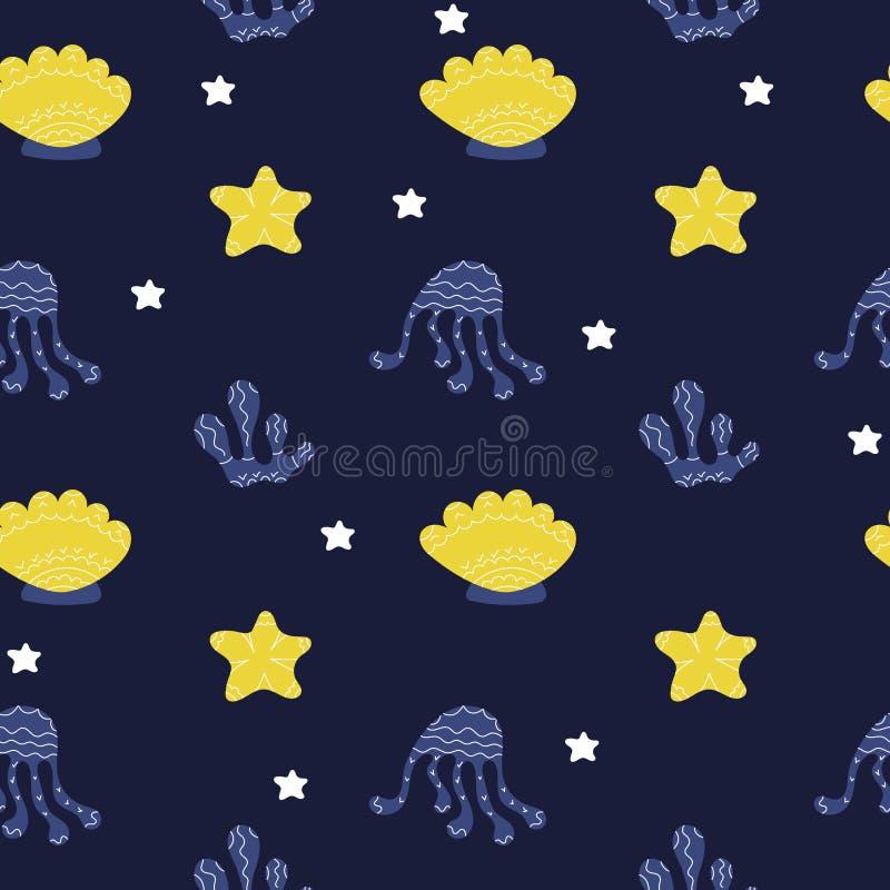 Sömlös bakgrund för undervattens- livvektor Bläckfiskar sjöstjärna, alger på mörk bakgrund vektor illustrationer