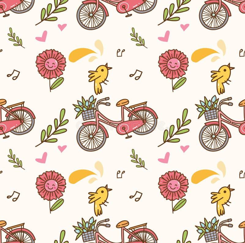 Sömlös bakgrund för vår med cykeln, blomma och sjungafågel stock illustrationer