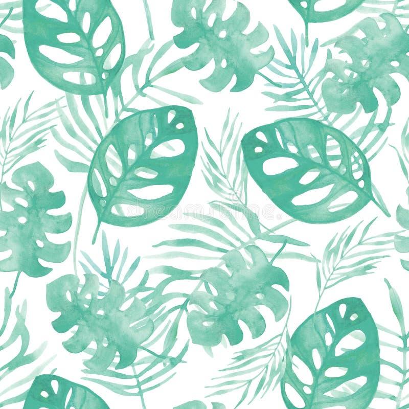Sömlös bakgrund för vattenfärgillustrationmodell av tropiska sidor av grön färg royaltyfri illustrationer