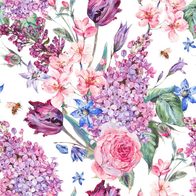 Sömlös bakgrund för vattenfärgvår med rosa blommor vektor illustrationer
