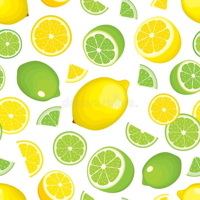 Sömlös bakgrund för vektor av citrusa produkter - citron och limefrukt på vit bakgrund Helhetsfrukter och skivor stock illustrationer