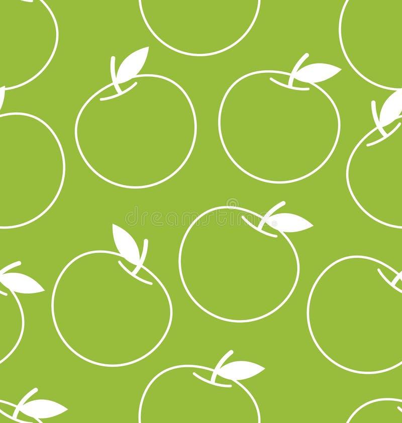 Sömlös bakgrund för vektor med äpplen royaltyfri illustrationer