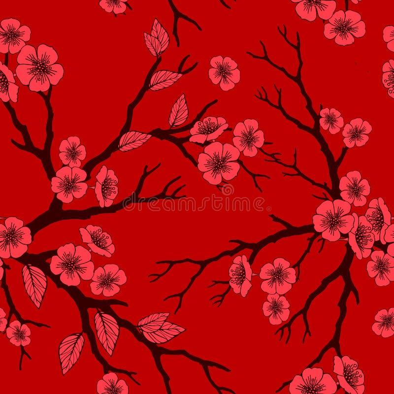 Sömlös bakgrund för vektor med den sakura blomningar och folliagen stock illustrationer