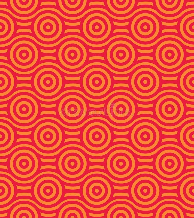 Sömlös bakgrund för vektor med modellen i asiatisk stil Röd och gul dekorativ prydnad royaltyfri illustrationer