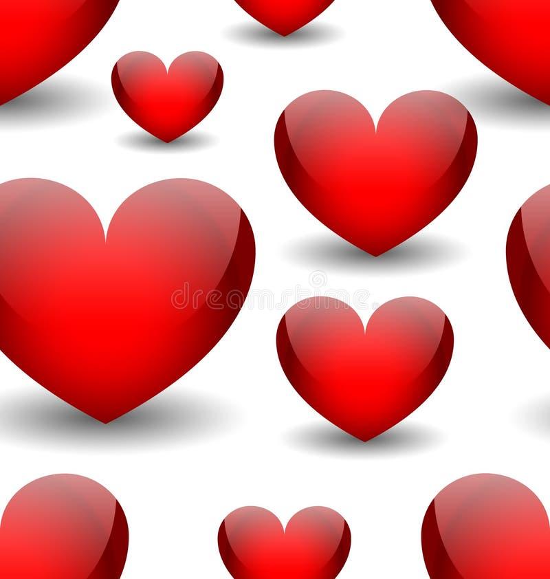 Sömlös bakgrund för vektor med röda hjärtor royaltyfri illustrationer