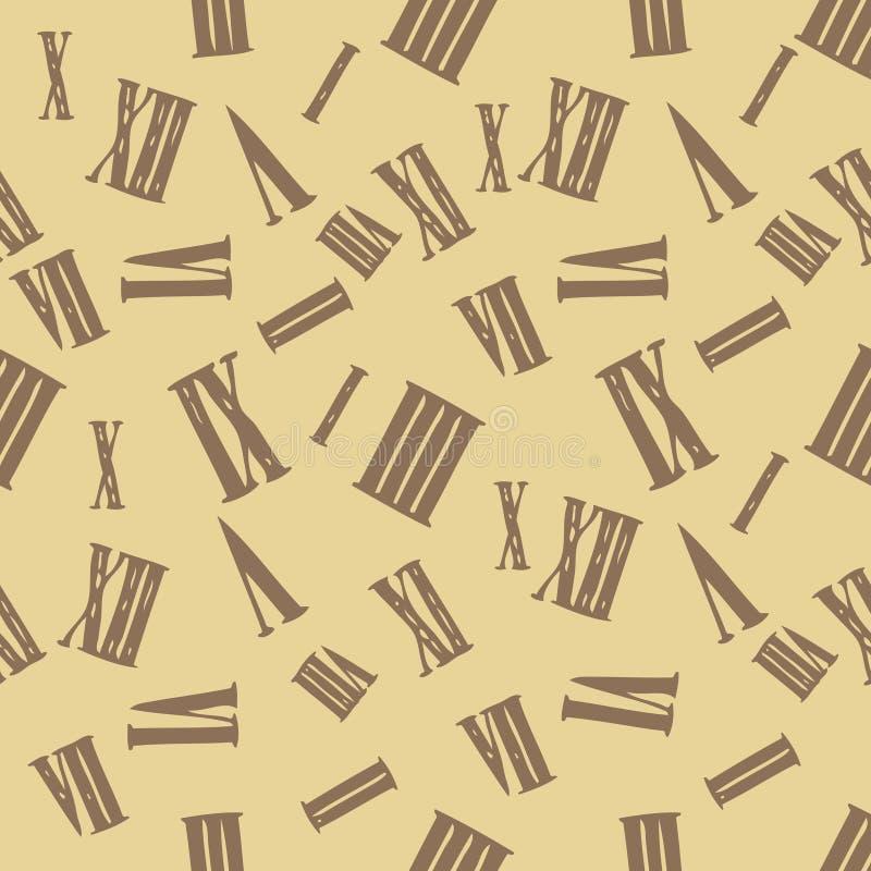 Sömlös bakgrund för vektorklocka med romerska tal royaltyfri illustrationer