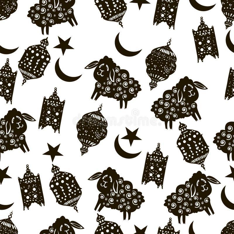 Sömlös bakgrund för vektorRamadan Islamiskt ferieh?lsningkort Arabiska lyktor, getter, lamm, halvmånformig, stjärnor Islamiska sy royaltyfri illustrationer