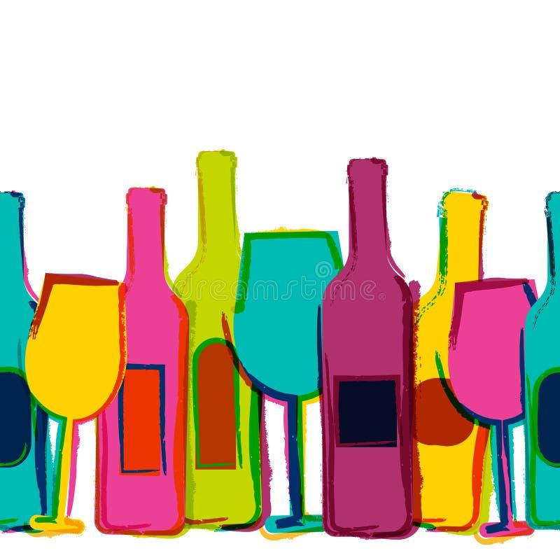 Sömlös bakgrund för vektorvattenfärg, färgrika vinflaskor och vektor illustrationer