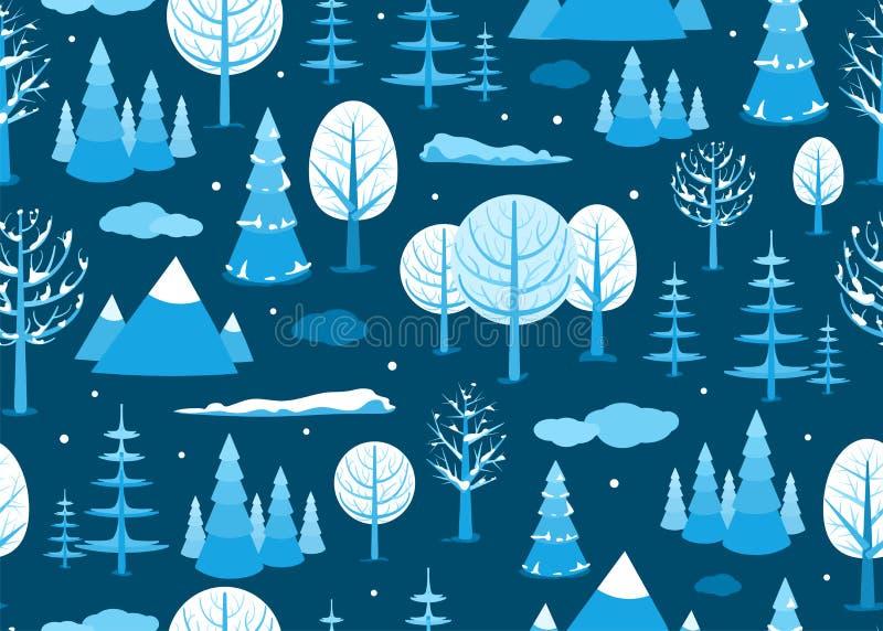 Sömlös bakgrund för vinterlandskap i minsta stil Plan landplats för horisontaltecknad film med träd, moln som faller royaltyfri illustrationer