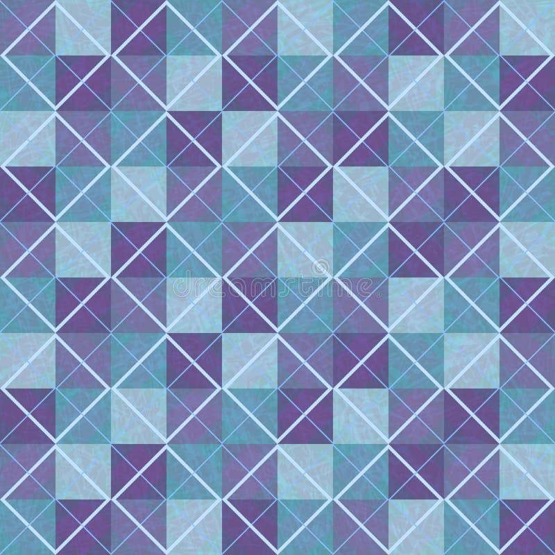 Sömlös bakgrund för violett och blå patchwork med fyrkanter och romber royaltyfri illustrationer
