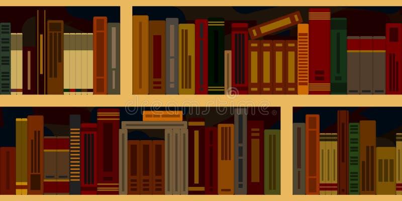 Sömlös bakgrund från bokhyllor stock illustrationer