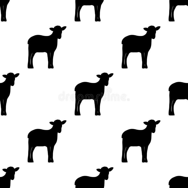 Sömlös bakgrund, kontur av lamm royaltyfri illustrationer