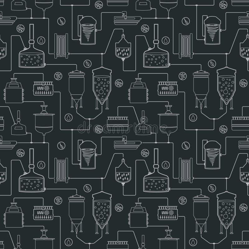 Sömlös bakgrund med öl som bryggar process stock illustrationer