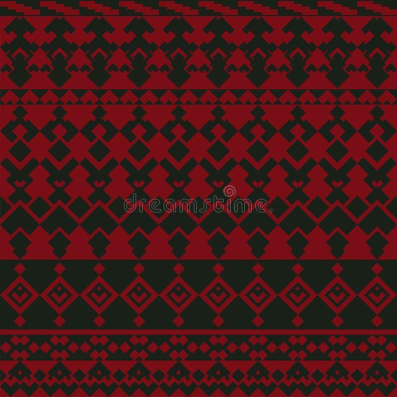 Sömlös bakgrund med aktiv röd-svart kontrast av enkla geometriska former stock illustrationer
