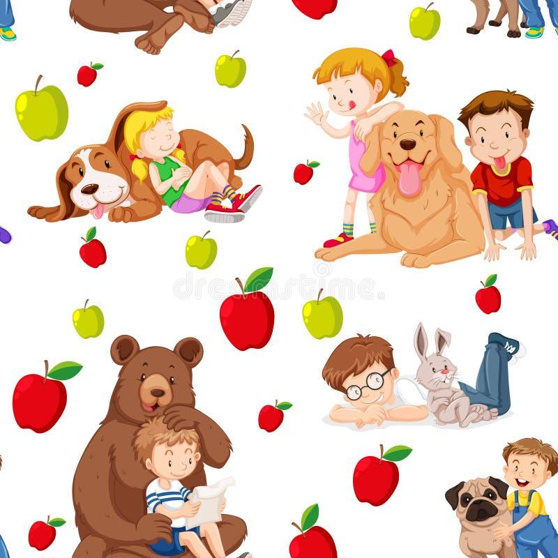 Sömlös bakgrund med barn och husdjur vektor illustrationer
