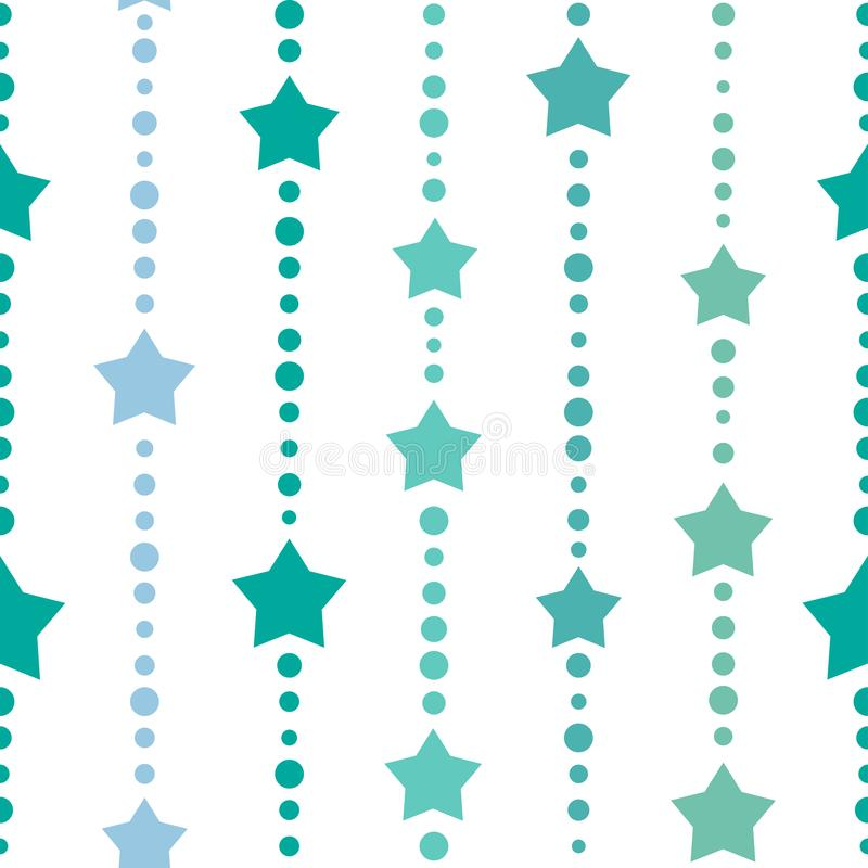 Sömlös bakgrund med blått- och turkosprickar och stjärnor på vit bakgrund royaltyfri illustrationer