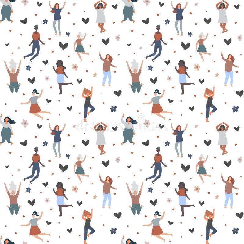 Sömlös bakgrund med blandras- kvinnor av det olika diagramet typ och formathoppet och att ha gyckel vektor illustrationer