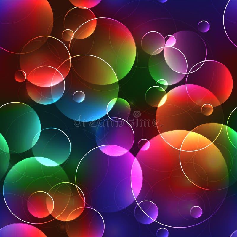 Sömlös bakgrund med bubblor i ljust neon färgar stock illustrationer