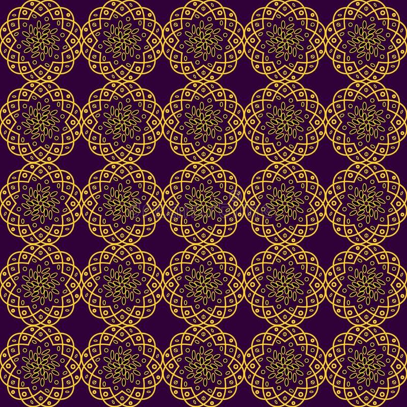 Sömlös bakgrund med delikata gula openwork blommor på en mörk Bourgognebakgrund stock illustrationer