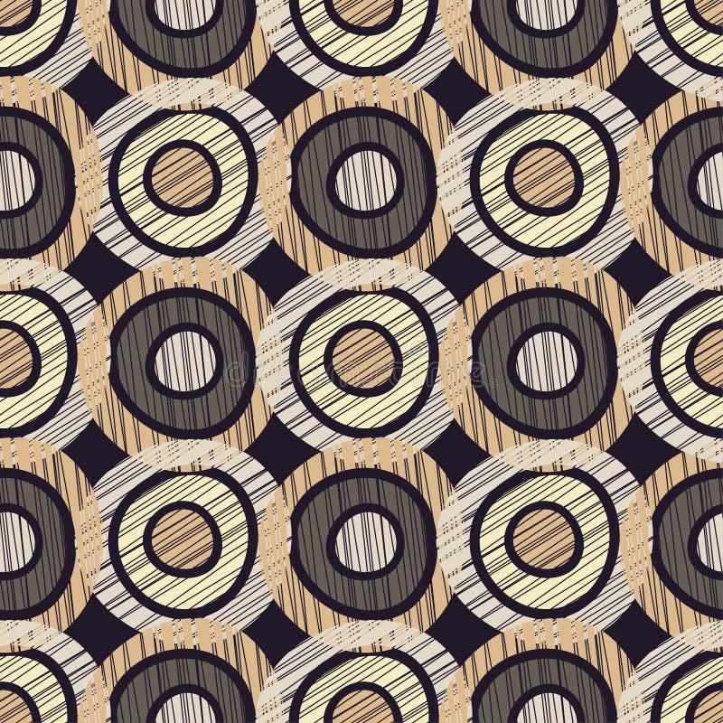 Sömlös bakgrund med den abstrakta geometriska modellen Klottra sicksacktextur stock illustrationer
