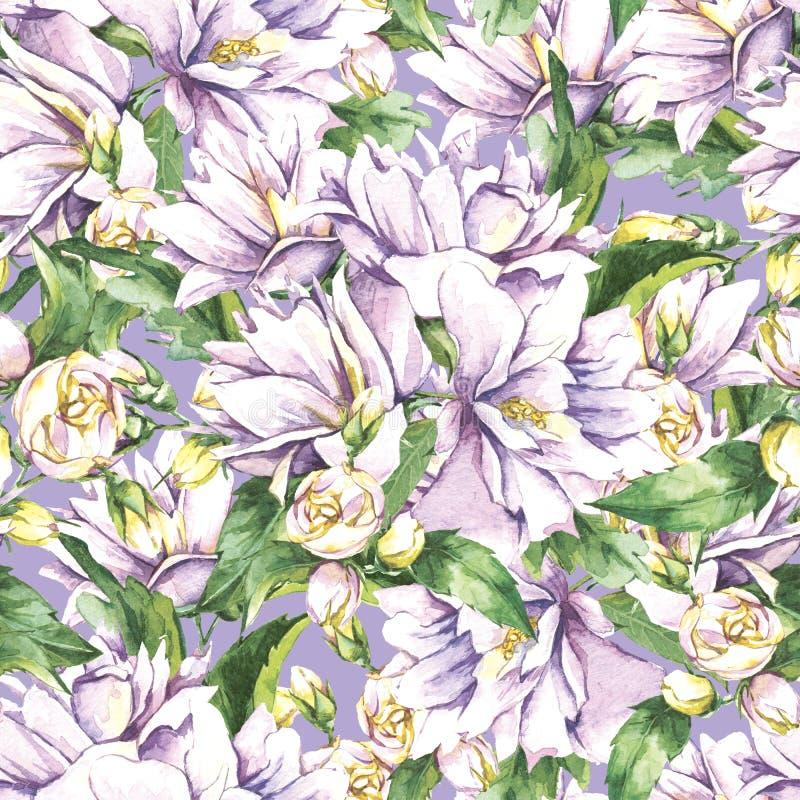 Sömlös bakgrund med den blommande jasmin royaltyfri illustrationer