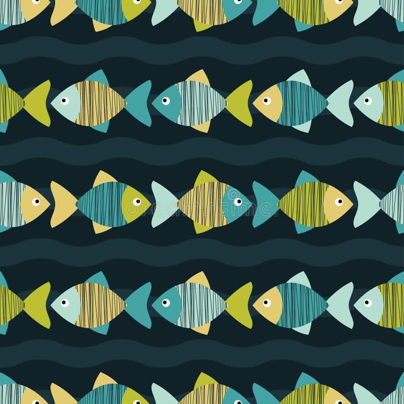 Sömlös bakgrund med den dekorativa fisken Klottra textur vektor illustrationer