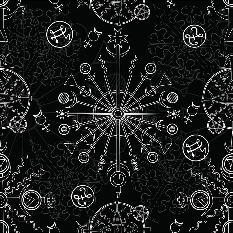 Sömlös bakgrund med den vita mystiker och ockulta symboler på svart stock illustrationer