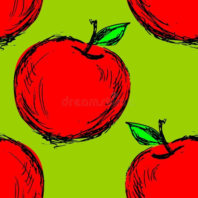 Sömlös bakgrund med det hand drog äpplet vektor illustrationer