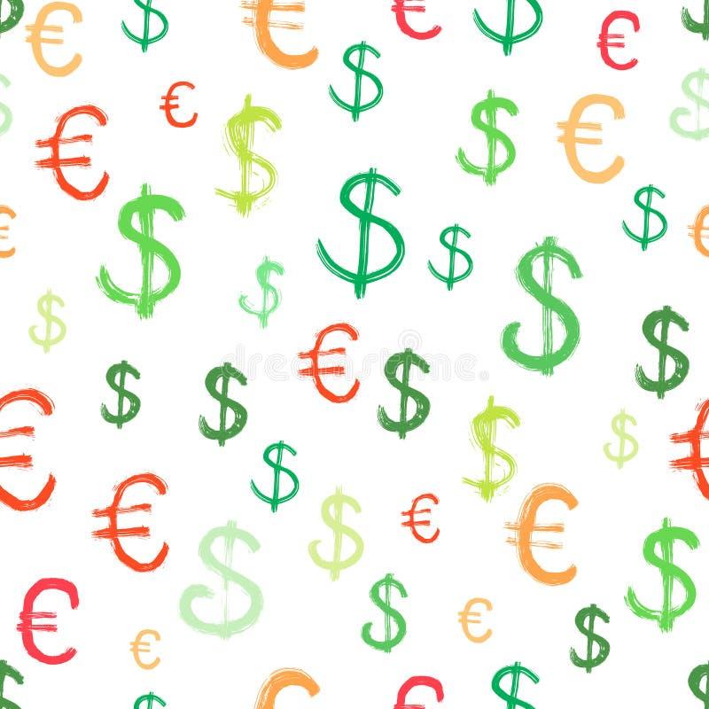 Sömlös bakgrund med dollar- och eurosymboler stock illustrationer