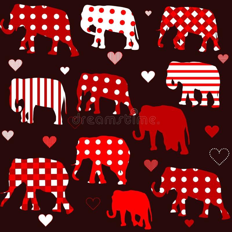 Sömlös bakgrund med elefanter och hjärtor royaltyfri illustrationer
