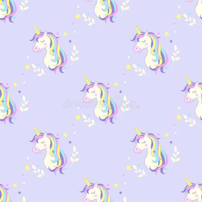 Sömlös bakgrund med enhörningen Illustration för barn` s vektor Bildenhörninghuvud stock illustrationer