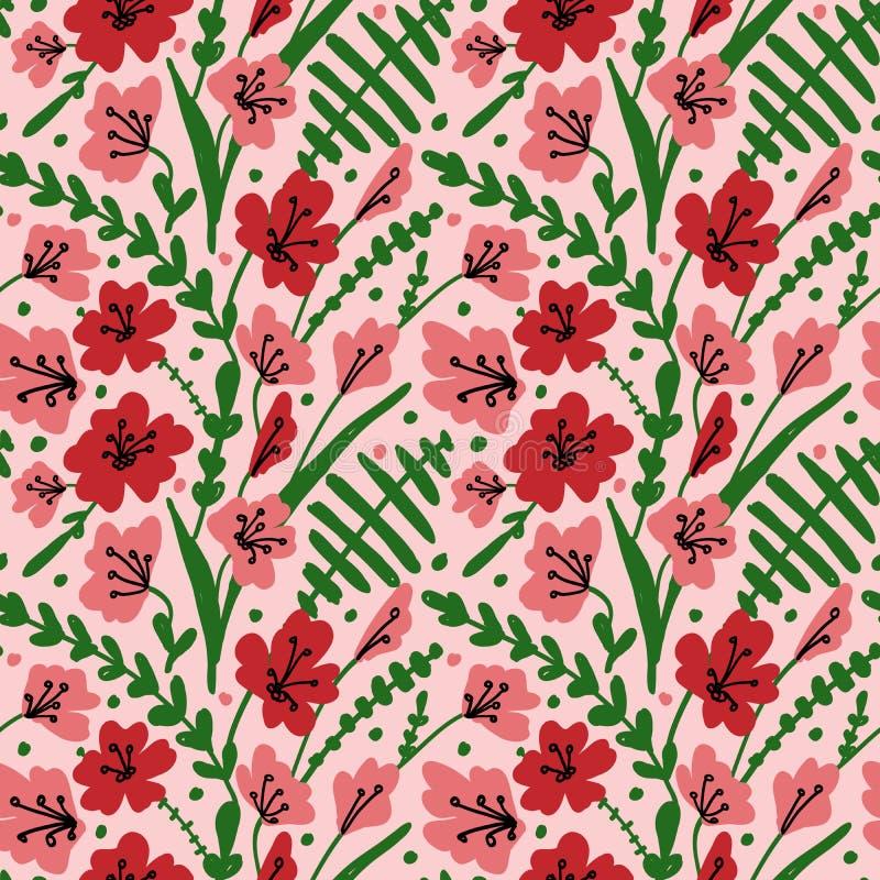 Sömlös bakgrund med fältblommor och örter Modell med den hand drog vallmo, gräs och sidor Blom- textur för vektor stock illustrationer