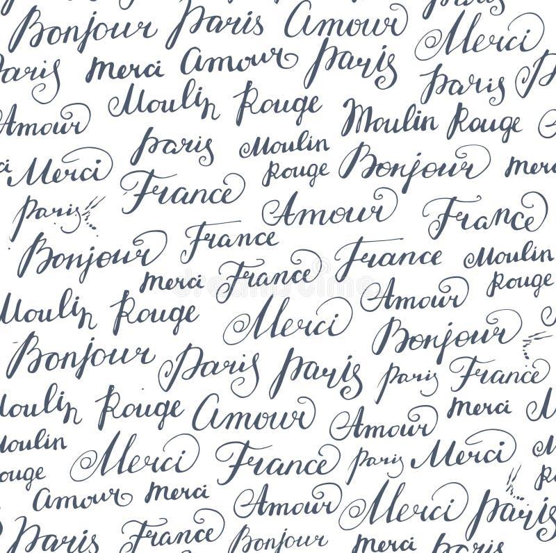 Sömlös bakgrund med färgpulverfranskainskrifter royaltyfri illustrationer