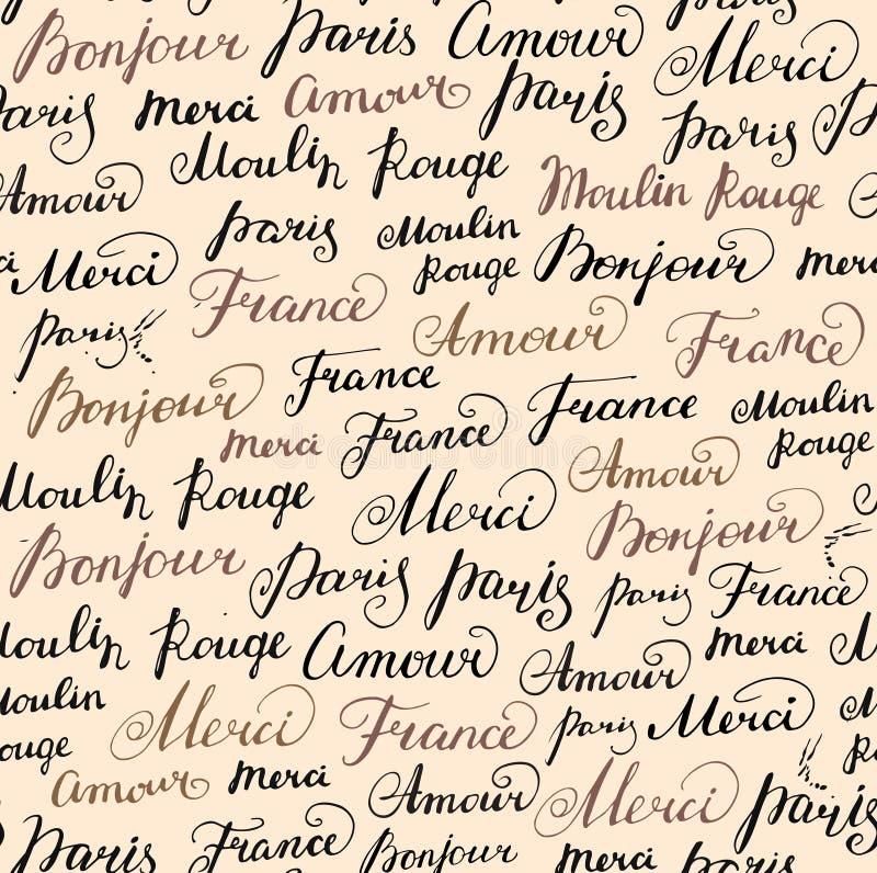 Sömlös bakgrund med färgpulverfranskainskrifter stock illustrationer