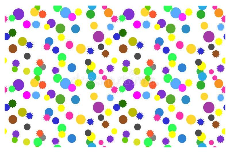 Sömlös bakgrund med färgrika cirklar på en vit bakgrund stock illustrationer